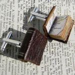 Leather book cufflinks