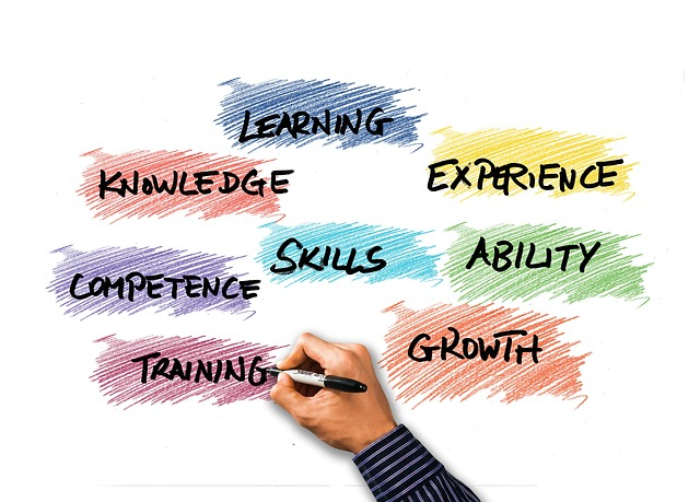 A hand writing words: knowledge. learning, experience, skills, ability, competence, training, growth