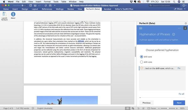 Screen shot of PerfectIts hyphenation of phrases section