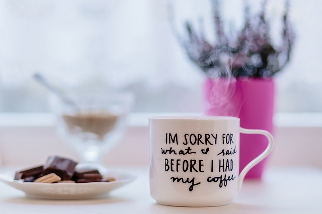 Mug with text 'I'm sorry for what I said before I had my coffee'