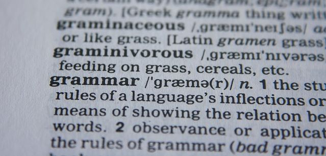 Dictionary entry for grammar