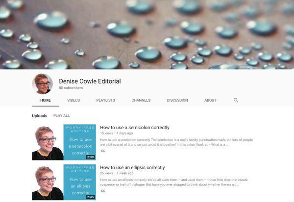 Screenshot of Denise's YouTube channel