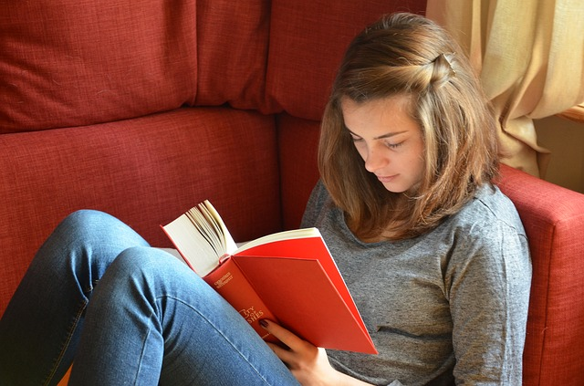 Young adult sat on red chair, reading a red book