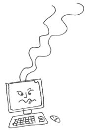 A desktop PC with a unwell looking face on the monitor screen and smoke rising from the top