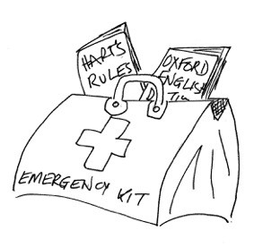 Drawing of an 'emergency kit' bag with Hart's Rules and Oxford English Dictionary books spilling out of the top