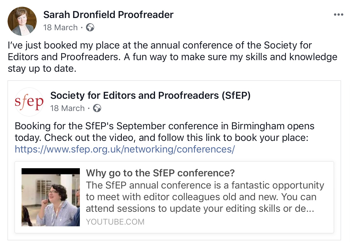 Facebook post on the Sarah Dronfield Proofreader page about booking tickets for the SfEP 2019 conference